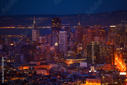San Francisco downtown at night form hill Poster