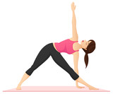 Vector illustration of a woman practicing yoga, performing the triangle pose. - 103135886