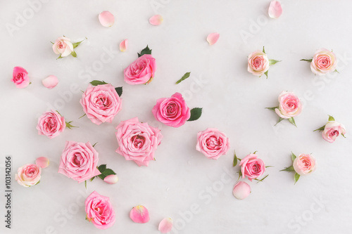 Zdjęcia na płótnie, fototapety, obrazy : Assorted roses  heads. Various soft roses  and leaves scattered on a vintage background, overhead view