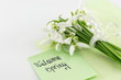 Постер, плакат: Fresh snowdrops bouquet with a note