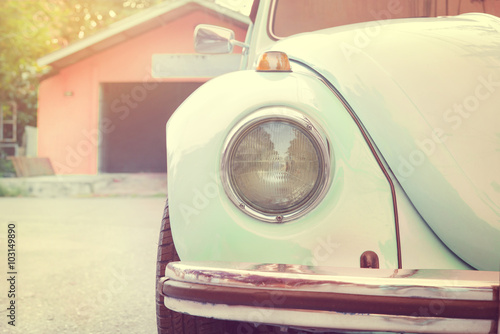 fototapeta na ścianę Headlight lamp old antique car - vehicles vintage classic style. vintage pastel style