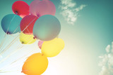 Multicolor balloons in summer holidays. Pastel color filter - 103155882