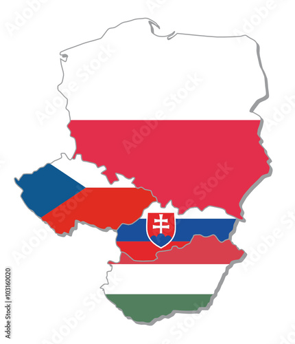 fototapeta na ścianę map with flags of visegrad group, V4