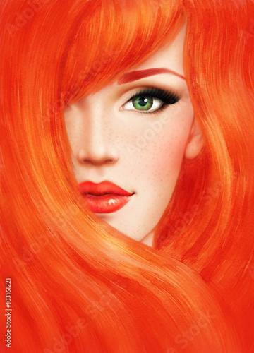 Fototapeta Beautiful woman face. fashion illustration