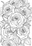 Adult Coloring book – illustration. Tattoo set: Roses. Vector illustration.