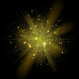 Fototapety Vector gold star sparkles in explosion. Glittering shining particles in starry space