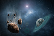 Cosmos scene with asteroid, planet and nebula in space - 103171453