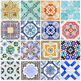 Fototapety Beautiful collage of all kind of different tiles of the houses of Lisbon, Portugal