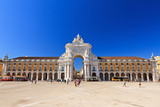 View on the gate on the Commerce square (Praca do Comercio) in Lisbon, Portugal