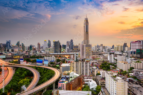Naklejka Bangkok, Thailand downtown cityscape.