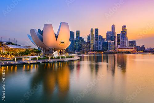 Singapore Skyline at Dusk Poster