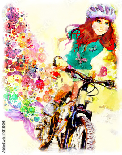 Young girl rides bicycle. Watercolor illustration плакат