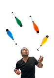 Juggling with colourful pins