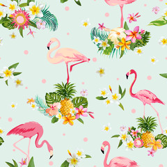 Flamingo Bird and Tropical Flowers Background - Retro seamless pattern