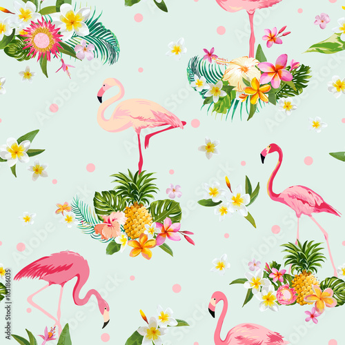 Flamingo Bird and Tropical Flowers Background - Retro seamless pattern
