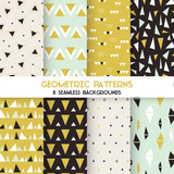 Fototapety 8 Seamless Geometric Triangles Patterns - Texture for wallpaper