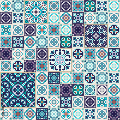 Naklejka Vector seamless texture. Beautiful patchwork pattern for design and fashion with decorative elements