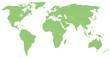 detailtreue grüne Weltkarte mit den einzzelnen Ländern