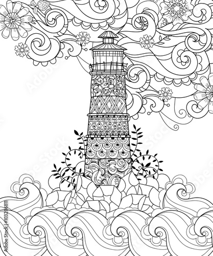 Lighthouse Tattoo Coloring Pages