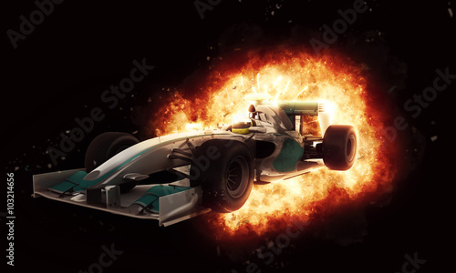 Fototapeta 3D racing car with fiery explosion effect