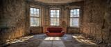 nostalgischer Raum mit roter Couch  - 103215606