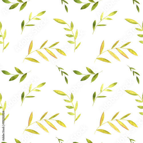 Fototapeta seamless pattern with watercolor green leaves