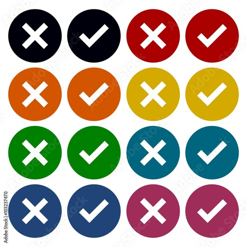 """Check mark and x circle icons set - Illustration"" Stock ... X And Check Icon"