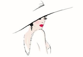 Beautiful woman portrait. Hand painted fashion illustration © Anna Ismagilova