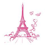 Eiffel tower romantic heart frame vector illustration