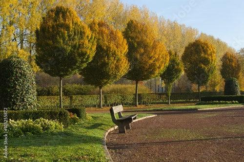 Papiers peints Nature bank in het park tijdens herfst