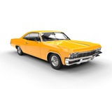 Classic muscle yellow car - studio lighting shot