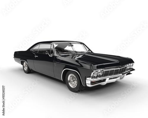 Foto op Canvas Snelle auto s Classic muscle black car - studio lighting shot