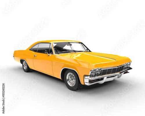 fototapeta na ścianę Classic muscle yellow car - studio lighting shot