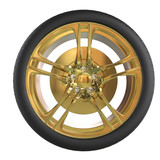 Racing tire with golden rim - front view