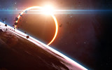 Abstract scientific background - glowing planet Earth in space, solar eclipse, nebula and stars. Elements of this image furnished by NASA  - Fine Art prints