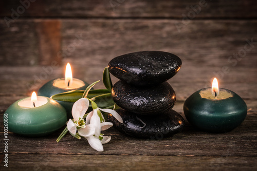 spa concept with stone and candles  on wooden table , © id-art