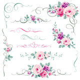 Set of floral calligraphic elements
