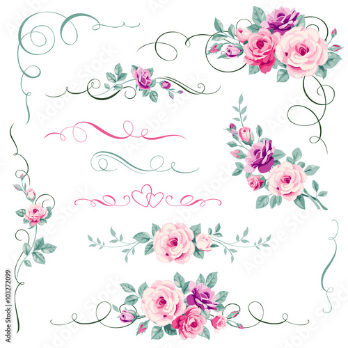 Set of floral calligraphic elements - 103272099