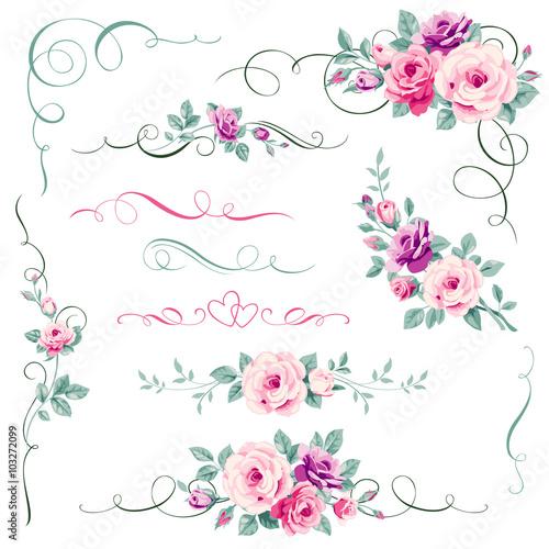 Fototapeta Set of floral calligraphic elements