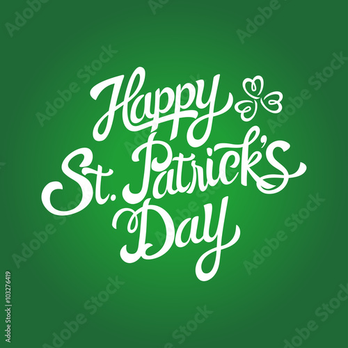 Text of Saint Patrick's Day with decorative three-leaved shamrock