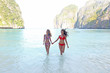 Women in Maya bay