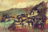 Fototapety painting of village with a bridge and old buildings
