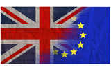 EU UK referendum, textured flags merged