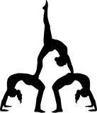 Fototapety Acrobatics silhouette of three people