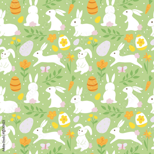 Cotton fabric Easter holiday background seamless pattern with easter bunny. Ha