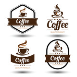 Fototapety coffee label vector