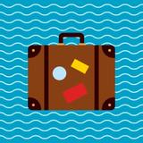 Icono plano maleta sobre fondo marino