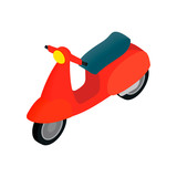 Classic Vespa scooter icon, isometric 3d style