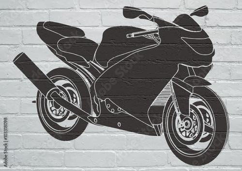 Fototapeta Street art, moto