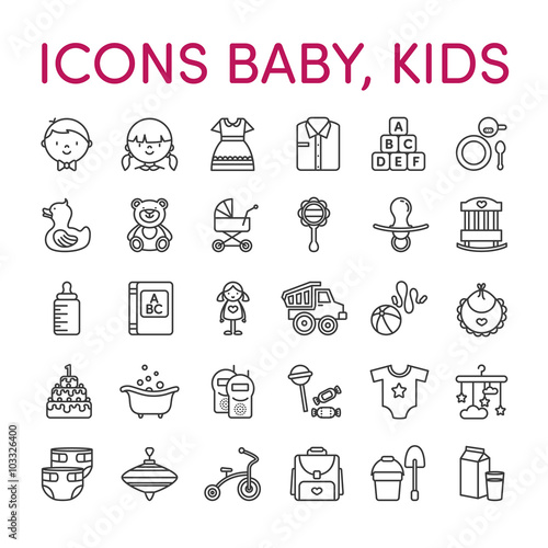 Kids baby icons black and white line
